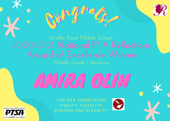 Congrats to Reed Student Amira Olin on Becoming a National PTA Reflections Winner!