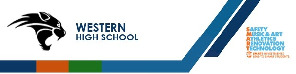 A graphic banner that shows Western High School's name and SMART logo