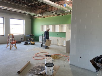 A classroom getting cabinets