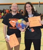 Mr. Colantonio and Mrs. Burak after winning the Turkey Toss