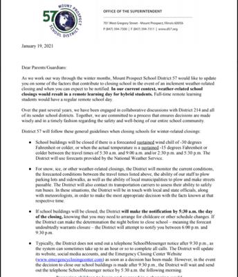 EMERGENCY SCHOOL CLOSING INFORMATION