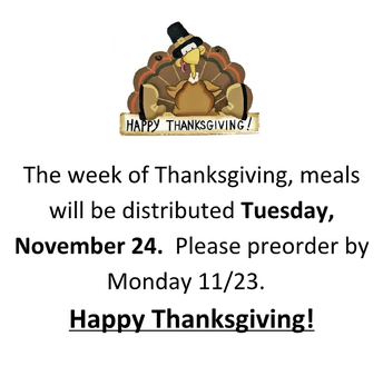 FOOD SERVICE FOR REMOTE LEARNERS - THANKSGIVING BREAK
