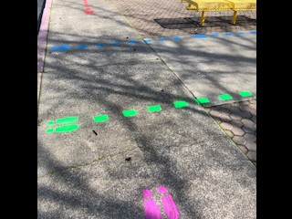 Colored pathways to ensure social distancing