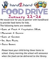 Hand2Hand Food Drive - January 22-26, 2018