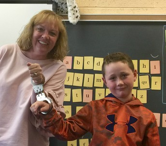 Connor loved being handcuffed to his teacher, Mrs. Roney!