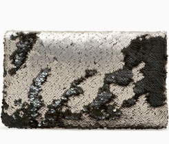 Margeaux Clutch - Pewter/Jet Sequins