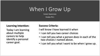 Career Awareness  PK- First grade