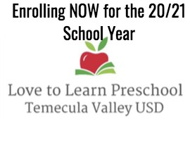Enroll Now for TVUSD's Love to Learn Preschool @Alamos Elementary School