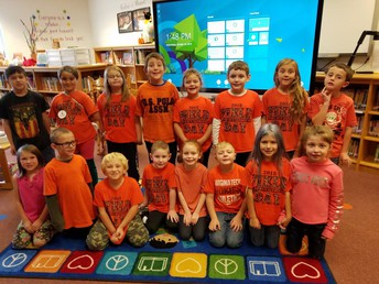 Photo of students wearing orange on Bully Prevention Day.