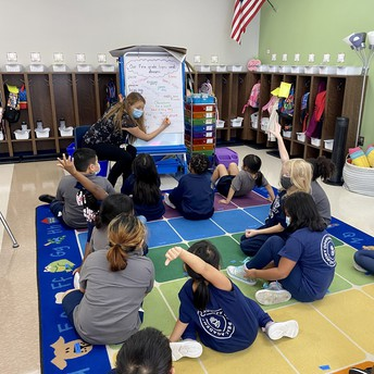 First Grade Class on their rug raising hands while the teacher writes on chart paper.