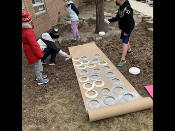 Junior and Intermediate students helped prepare portholes for the school