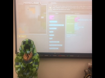 Hour of Code/ Hora del Código Minecraft Designer (with our own creeper on PJ Day!)