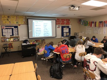Students in Spanish I engage in review