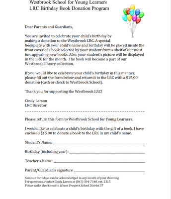 LRC Birthday Book Form