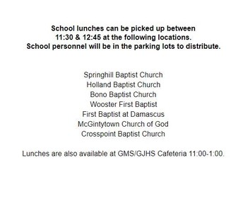 Locations for lunches