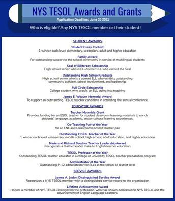 NYSTESOL Awards and Grants