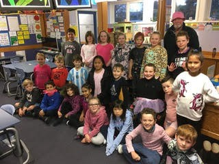 """Room 5 dressed for """"Pink Shirt"""" day today with our Caretaker Mr Laurenson (Ray)!"""