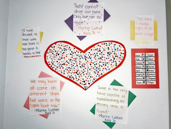 Our PreK-B classroom heart hangs proudly in the main hallway!
