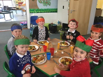 Year R and 1 enjoy the festive feast!