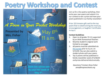 VIRTUAL Community Connections Poetry Workshop & Contest!