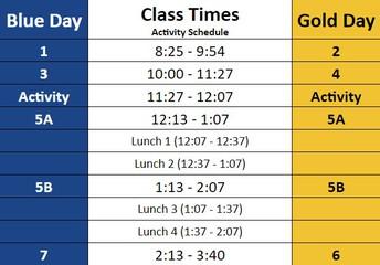2020-2021 Block Schedule - Activity Schedule
