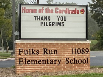 Picture of FRES school sign with thank you Pilgrim's posted