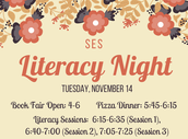 Literacy Night, November 14th from 5:30-7:30
