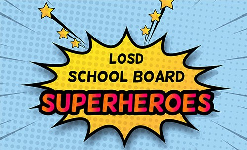 Graphic of school board as superheros
