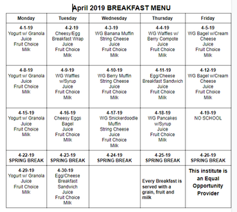 Breakfast is $2.25 and Lunch is $3.50