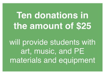 Ten $25 donations = art, music, and PE materials and equipment