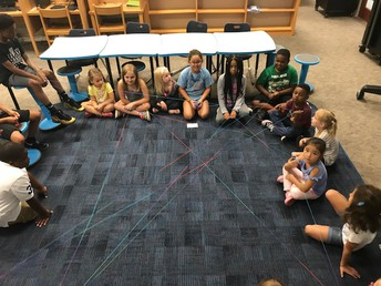 The students each share what makes them special and then pass the yarn to show that we all bring something to the team.