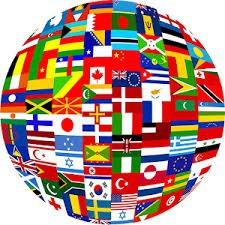 globe covered in flags of every country