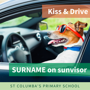 Kiss & Drive - SURNAME on sunvisor