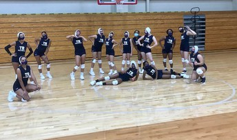 """Varsity girls """"mask up"""" so they can play while staying safe."""
