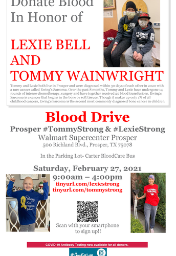 Donate Blood in Honor of Lexie Bell & Tommy Wainwright