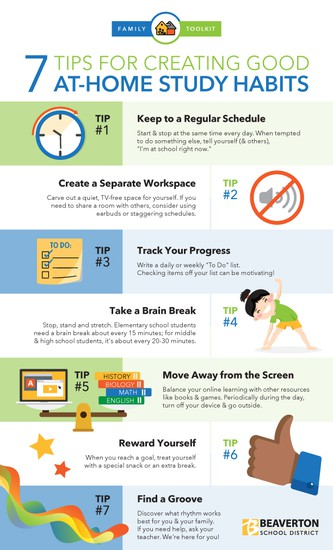7 Tips for Creating Good At-Home Study Habits graphic