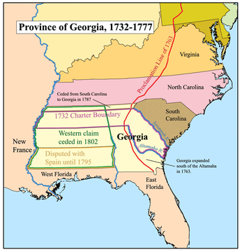 Map of Colonial Georgia