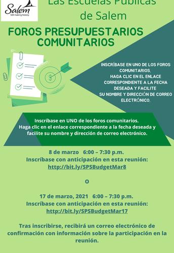 FORO COMUNITARIO SOBRE PRESUPUESTO - MARZO 17 - 6:00PM