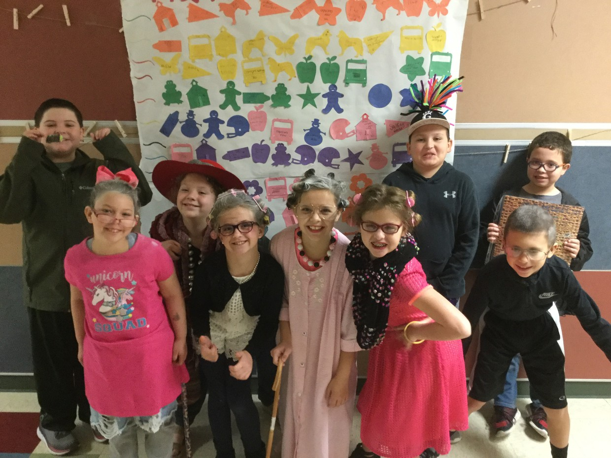 Mrs. Bradshaw's Class celebrating the 100th day of school.