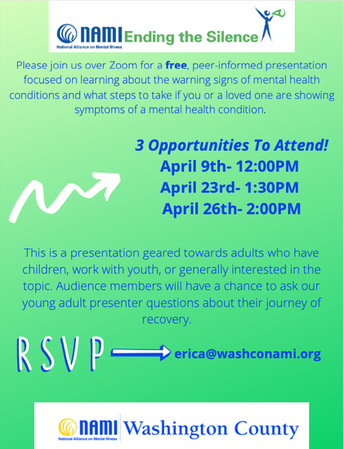 Ending the Silence Presentations: April 9, 23 and 26
