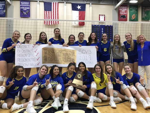 image of victorious clemens high school volleyball team & coaches