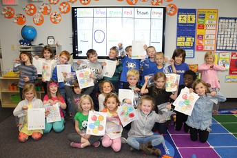 Kinder. learning to count by color