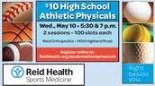 $10.00 JH and HS Athletic Physicals