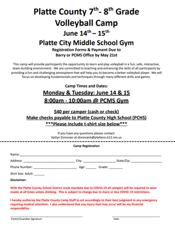 Summer Volleyball Camp Info for Current 6th & 7th Graders