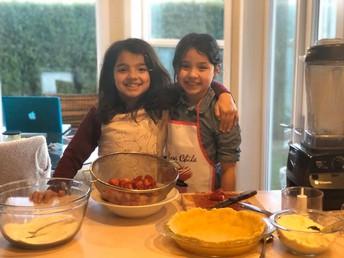 Mini Chefs baking Strawberry crumble pie.