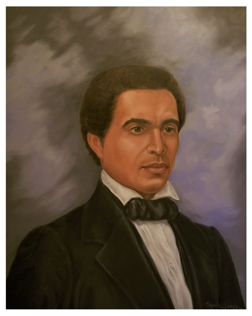 painting of black man with short hair, wearing black tuxedo jacket and white shirt with black bow tie