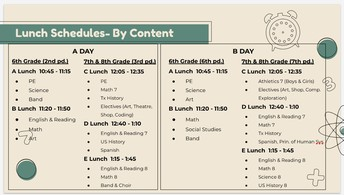 Lunch Schedule - Virtual & F2F