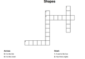 Crossword about shapes