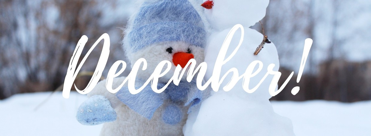This is a picture of a snowman with the word December written over it.