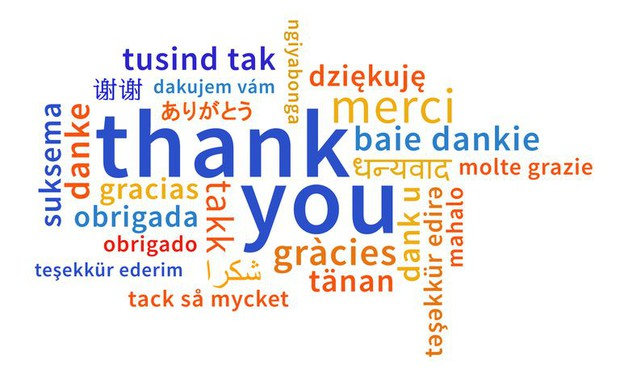 Image with Thank You in Many Languages